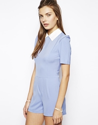 Lavish Alice Structured Playsuit With Contrast Collar Paleblue