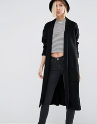 Weekday Knitted Cocoon Coat Black