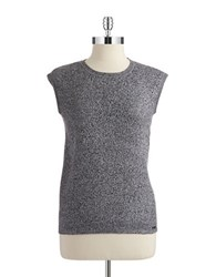 Calvin Klein Cap Sleeve Shell Black White