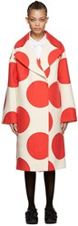 Msgm White And Red Polka Dot Coat