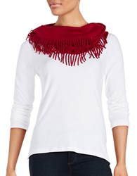 Lord And Taylor Fringe Trimmed Infinity Scarf Red