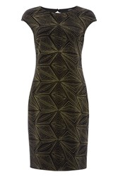 Roman Originals Velvet Geometric Glitter Dress Gold Metallic
