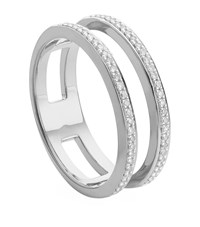 Monica Vinader Skinny Double Band Diamond Ring Female Silver