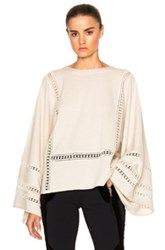 Chloe Lace Inset Merino And Cashmere Sweater In Neutrals