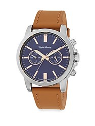 English Laundry Stainless Steel Camel Leather Chronograph Watch Brown Navy