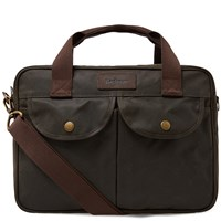 Barbour Wax Longthorpe Laptop Bag Green