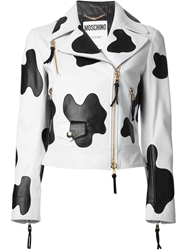 Moschino Cow Hide Effect Biker Jacket Black