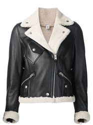 Coach Contrast Collar Biker Jacket Black