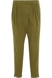 Givenchy Tapered Pants In Silk Trimmed Army Green Cotton Twill