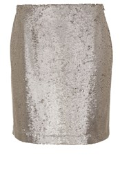 Hallhuber Flat Woven Fabric Sequin Skirt Light Grey