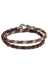 Tod's Tods Braided Leather Wrap Bracelet Brown