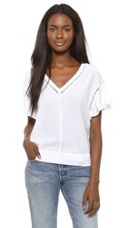 Rebecca Taylor Short Sleeve V Neck Top Sea Salt