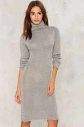 Devan Metallic Knit Dress Silver