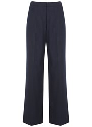Mint Velvet Navy Pinstripe Wide Leg Trouser Blue