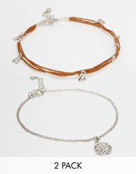 Asos Cord And Charm Anklet Pack Multi