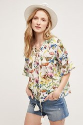 Anthropologie Flora And Fauna Blouse White