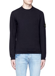 Stone Island Logo Patch Cotton French Terry Sweatshirt Black
