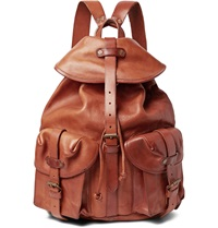 Rrl Riley Distressed Leather Backpack Brown