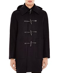 Sandro Wool Cashmere Blend Hooded Duffle Coat Marine