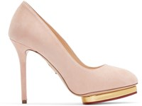 Charlotte Olympia Pink Suede Dotty Heels