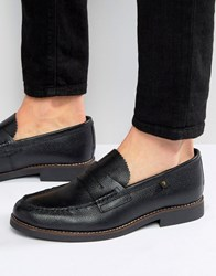 Farah Chapel Pebble Grain Loafers Black