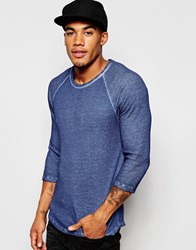 Asos Waffle Jersey Extreme Muscle 3 4 Sleeve T Shirt With Oil Wash In Blue