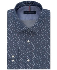 Tommy Hilfiger Men's Slim Fit Non Iron Midnight Blue Anchor Print Dress Shirt