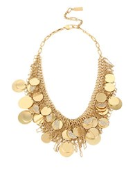 Kenneth Cole Shaky Pave Disc Fringe Mesh Frontal Necklace Gold