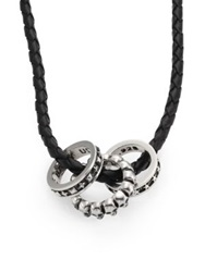 King Baby Studio Sterling Silver Rings And Braided Leather Necklace Black Silver