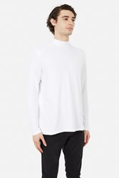 Patrik Ervell Cotton Rib Mockneck Long Sleeve Top White Bamboo Cotton