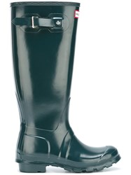 Hunter Buckled Knee Length Boots Green