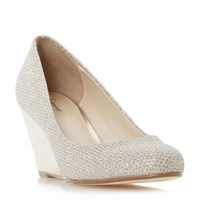 Linea Bora Round Toe Wedge Court Shoes Gold