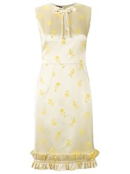Reinaldo Lourenco Embroidered Floral Dress Yellow Orange