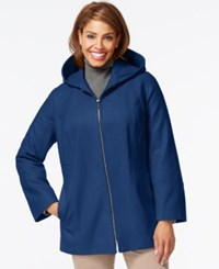 London Fog Plus Size Hooded Zipper Front Coat River Blue