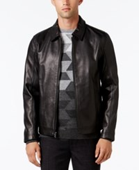 Alfani Collection Men's Starling Leather Jacket Only At Macy's Deep Black