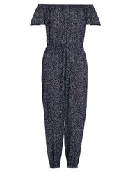 Rebecca Taylor Off The Shoulder Jumpsuit Navy