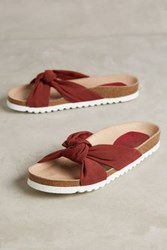 Anthropologie Kmb Knotted Slides Red 36 Euro Sandals