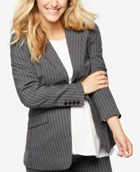 A Pea In The Pod Maternity Striped Blazer Gray White