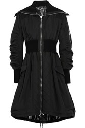 Alexander Mcqueen Shell And Ribbed Wool Blend Jersey Parka Black