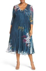 Komarov Plus Size Women's Lace Inset Floral Print Chiffon V Neck Dress