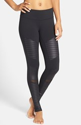 Alo Yoga Women's Alo Moto Leggings Black Black Glossy