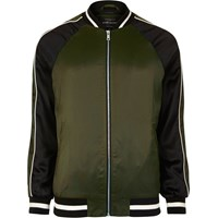 River Island Mens Green Two Tone Light Bomber Jacket