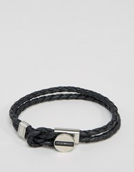 Emporio Armani Leather Logo Bracelet In Black Black