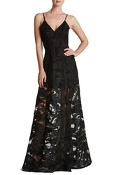 Dress The Population Women's 'Florence' Woven Fit And Flare Gown Black