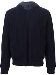 Z Zegna Cable Knit Hooded Padded Jacket Blue