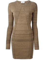 Sonia Rykiel Ribbed Fitted Sweater Dress Brown