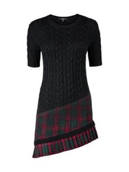 Versus By Versace Versus Versace Check Asymmetric Kilt And Knitted Dress Black