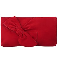 Lk Bennett Fay Suede Clutch Bag Red Roca Red