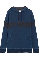 Ivy Park Printed Cotton Blend Jersey Hooded Top Navy