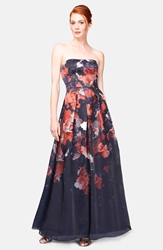 Kay Unger Print Silk Ball Gown Navy Multi